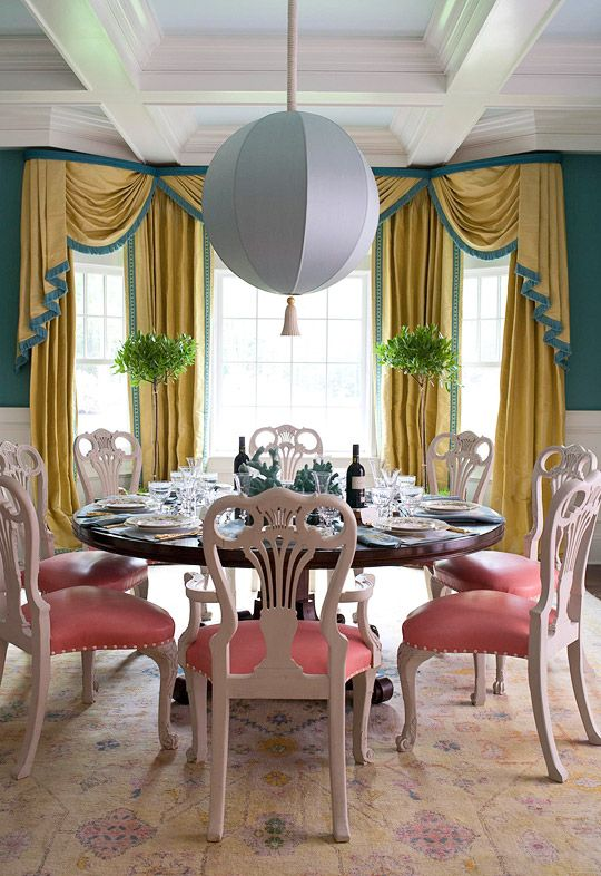 Absolutely Preposterous Teal Gold And Pink Dining Room In The 2010 Hamptons Designer Showhouse By Richard Keith Langham Those Drapes