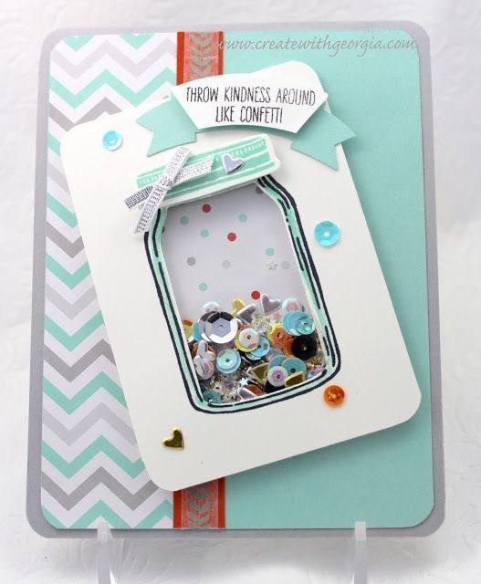 This shaker card was created using the new Stampin'UP! Jars of Love stamp set…