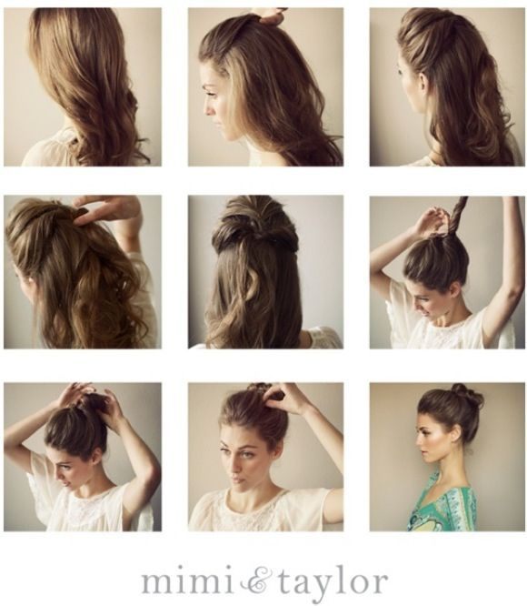 Steps To Make Easy Hairstyles: Super Easy Top-Knot Hair Bun Step By Step Tutorials