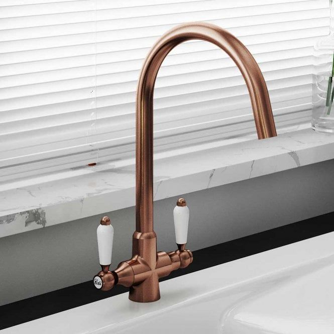 Astini Colonial Antique Copper White Ceramic Handle Kitchen Sink Mixer Tap Astini From Taps Uk Kitchen Handles Copper Taps Kitchen Sink Mixer Taps