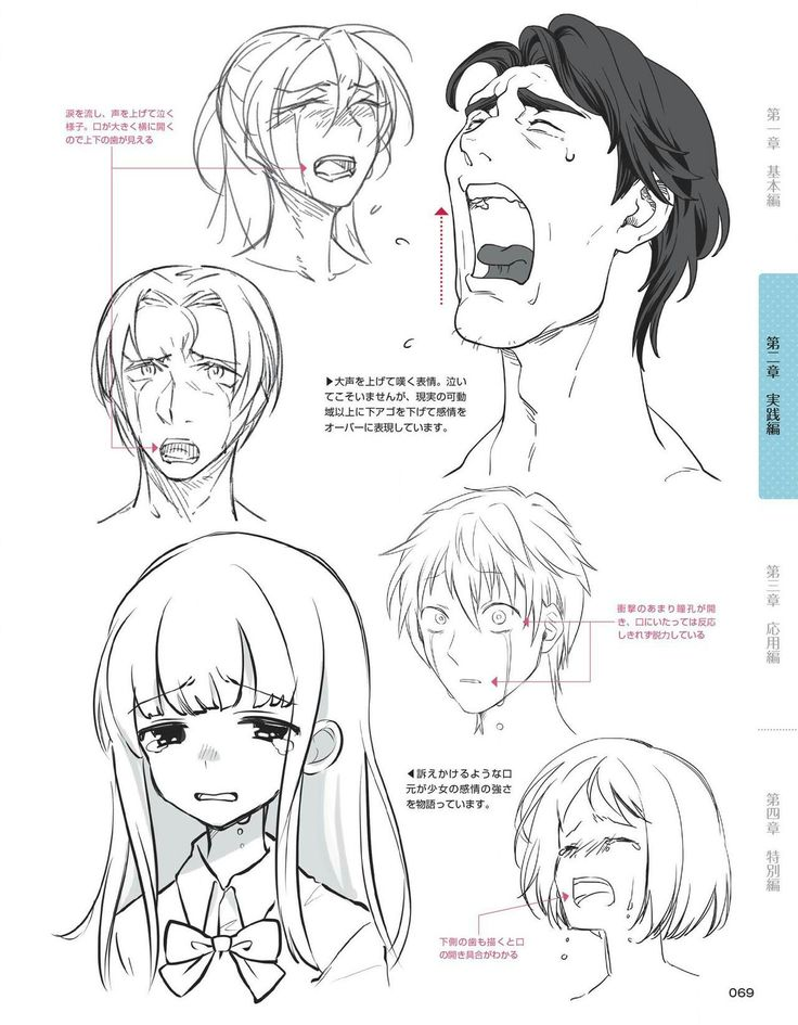 Anime Emotion Crying Drawing expressions, Anime