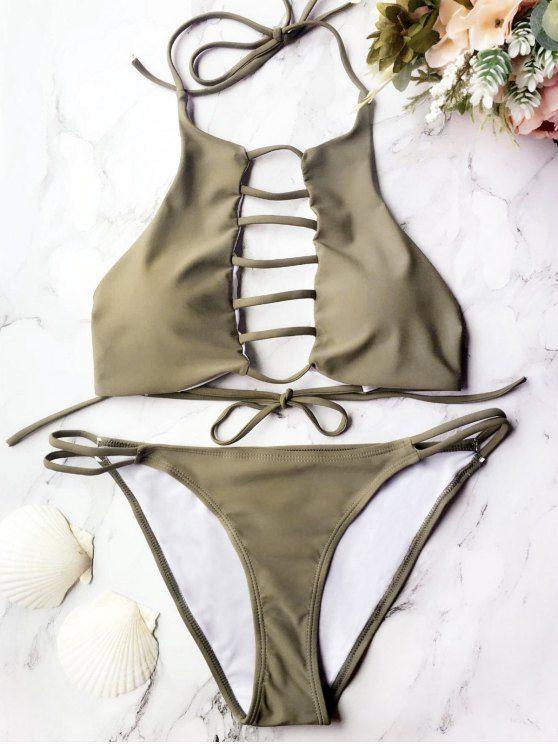 Padded Ladder Cut Out Bikini Set - GREY OLRVE M Mobile