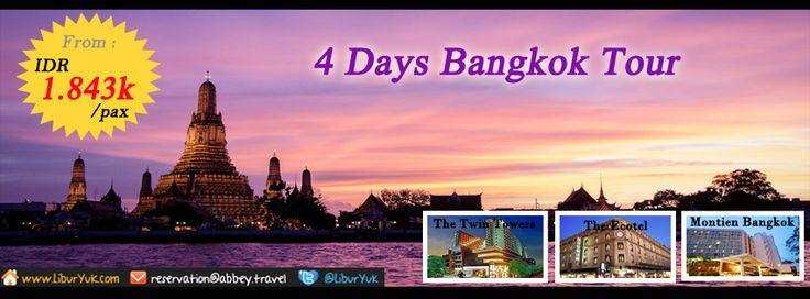 Ingin liburan ke Bangkok? kini telah tersedia paket 4 Hari Bangkok Tour, Anda akan diajak berkeliling kota Bangkok,mengunjungi Sungai Chaophaya, kemudian singgah di Wat Arun Temple dan masih banyak tempat menarik lainnya. Yuk booking sekarang juga,ada diskon spesial lho.  Dapatkan Spesial Paket tersebut dari LiburYuk http://liburyuk.com/listpackage/4D+BANGKOK+TOUR  #Bangkok #Beach #WatArun #Thailand #AbbeyTravel #LiburYuk #Holiday #Jalan2