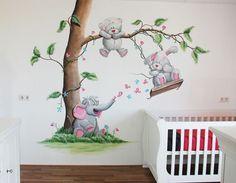 babykamer muurschildering gemaakt door BIM Muurschildering elephant, rabbit, me to you bear, nursery mural painting