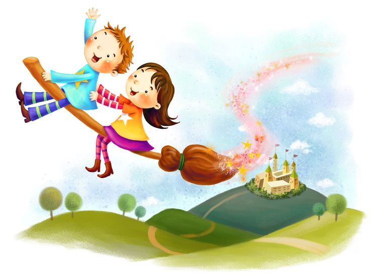 Cute Boy and Girl Riding Broom Wallpaper