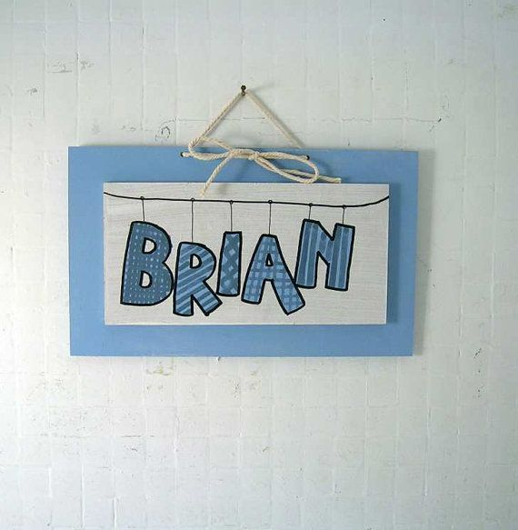 BRIAN baby blue paint Children's Wall Names Baby by bluepeppertime