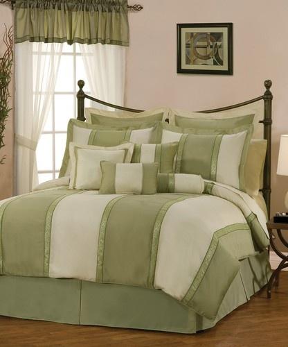7pcs Beige Sage Green Jacquard Floral Comforter Set Bed In