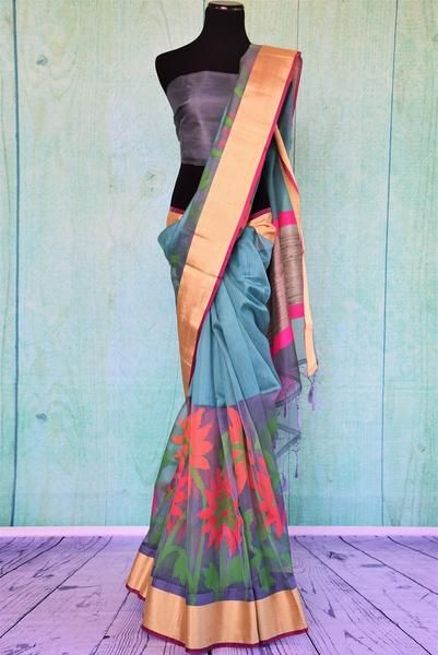 90C470 Blue Half Matka Half Tissue Saree With Multi Colored Pattern