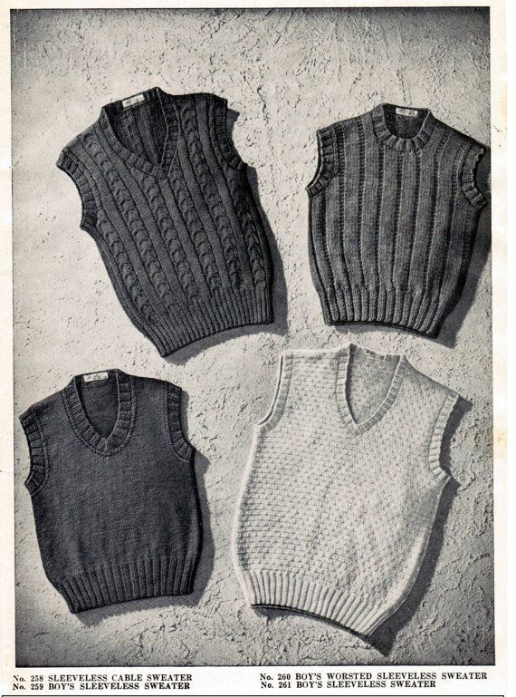 An adorable set of 4 knitting patterns for boys sleeveless sweaters from the 1940s. You will receive a PDF knitting pattern for the four