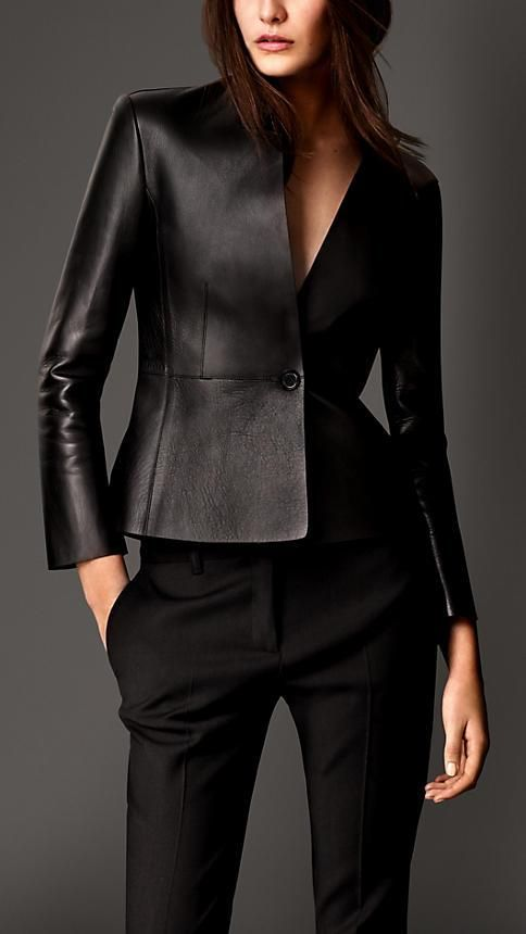 Burberry London Bonded Nappa Leather Tailored Jacket: