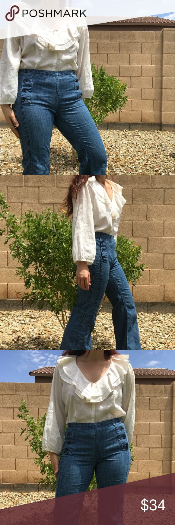Vintage Cream poet shirt Cotton/linen. Not by Anthropologie . Free people flare jeans also for sale in my closet. Top will fit a med-large Anthropologie Tops Blouses