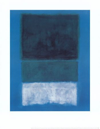 14 white and greens in blue art print by mark rothko