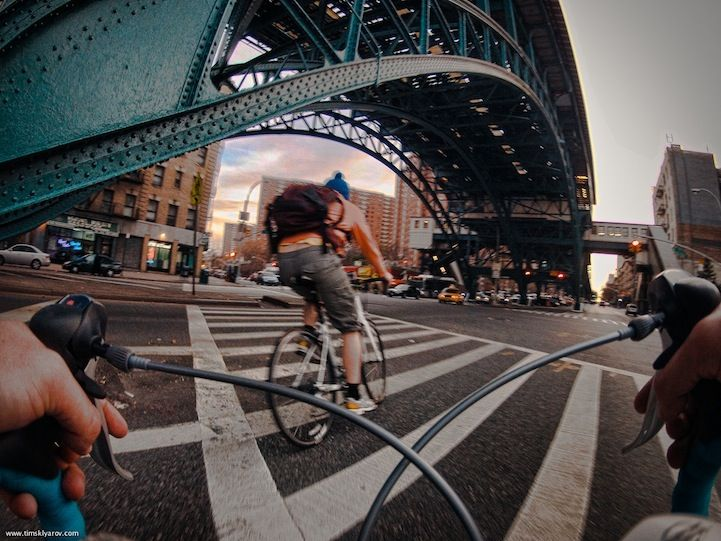 Riding the streets of New York City from a bikers perspective