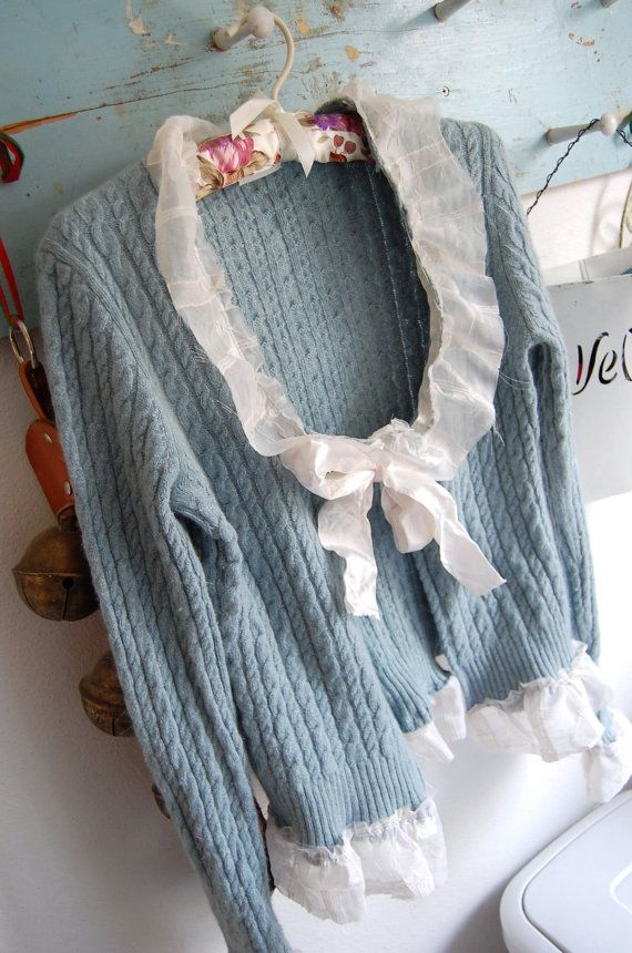 Cashmere Sweater Cardigan Altered Clothing by OfLinenandLace.