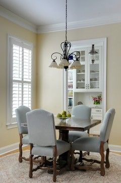 "Sherwin Williams color ""inviting ivory.""  I love the simpleness and cleanliness of this dining room."