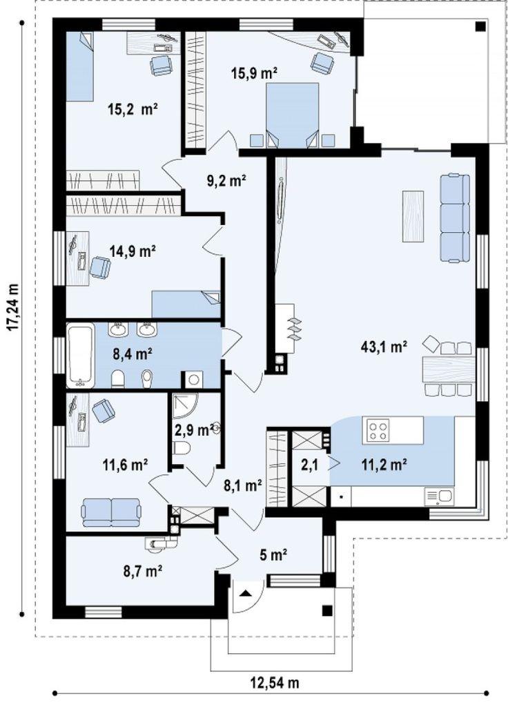 Plano y fachada de chalet moderno de 3 dormitorios-2
