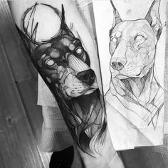 Doberman tattoo by Fredao Oliveira.   Blackwork animal tattoos are classy & mysterious. They stand out due to their bold lines and complex patterns and they impose respect and admiration. Enjoy!