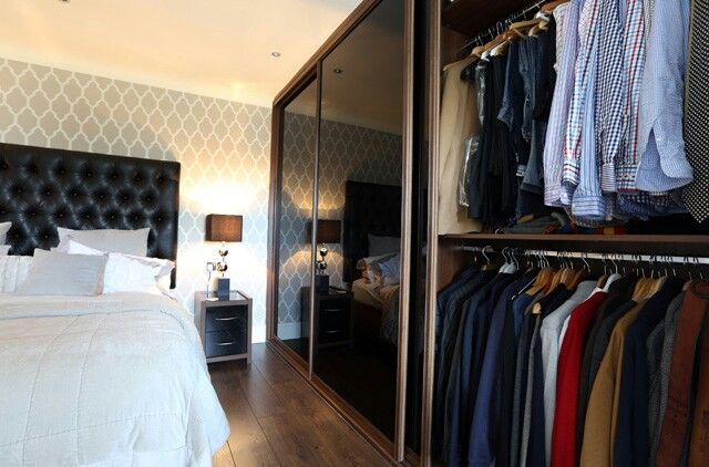 Walnut and black. Happy customer. #walnut #black #sliderobes #inspo #homeinspo #bedrooms #wardrobes #fittedwardrobes #customer #installation #bedroominspo