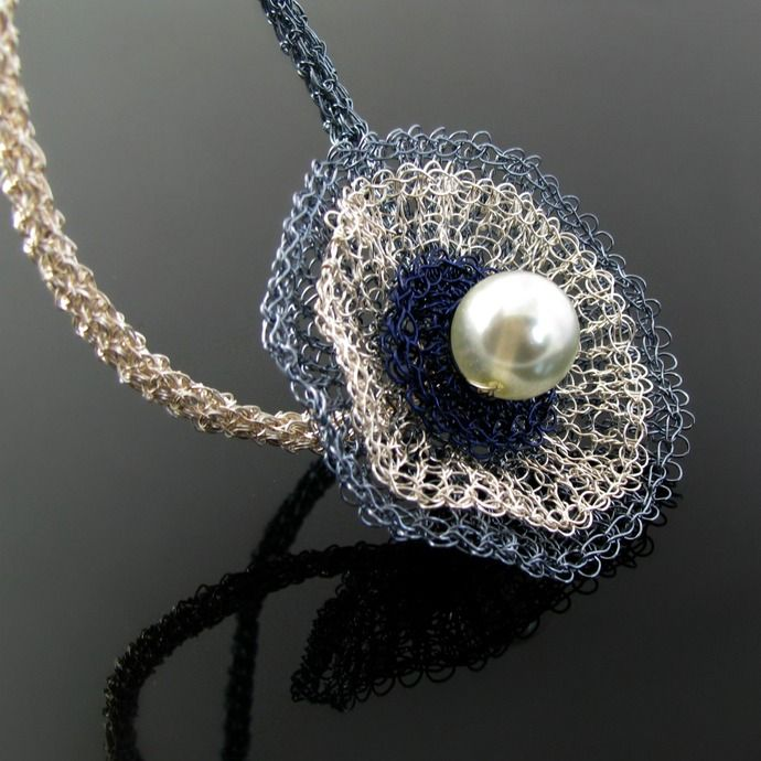 SALE! Wire knit and crochet flower necklace with glass pearl by CatsWire, $35.00 USD