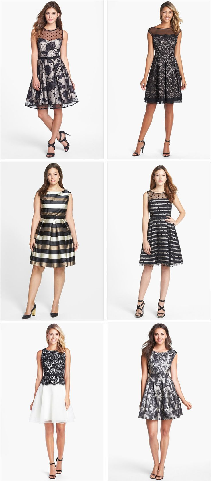 Holiday party dresses in black & white