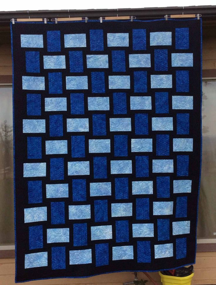 Weave quilt made with Light Blue and Dark Blue Batik . Twin Size