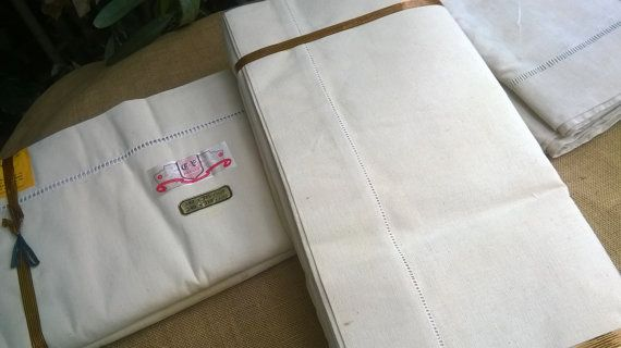 www.SophieLadyDeParis.etsy.com Gorgeous pair of Mid-Century wide French metis linen Flat Sheets and ladder work.  Off White metis linen fabric , camel color, for a 2 person... #antiquelinens #victorian #frenchlinens #sophieladydeparis #damask