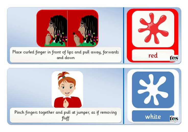Colourful cards with clear sign language illustrations plus supportive images and text (Sassoon font). Includes the 11 key colours. Sign language images have a colour coded background for additional support.