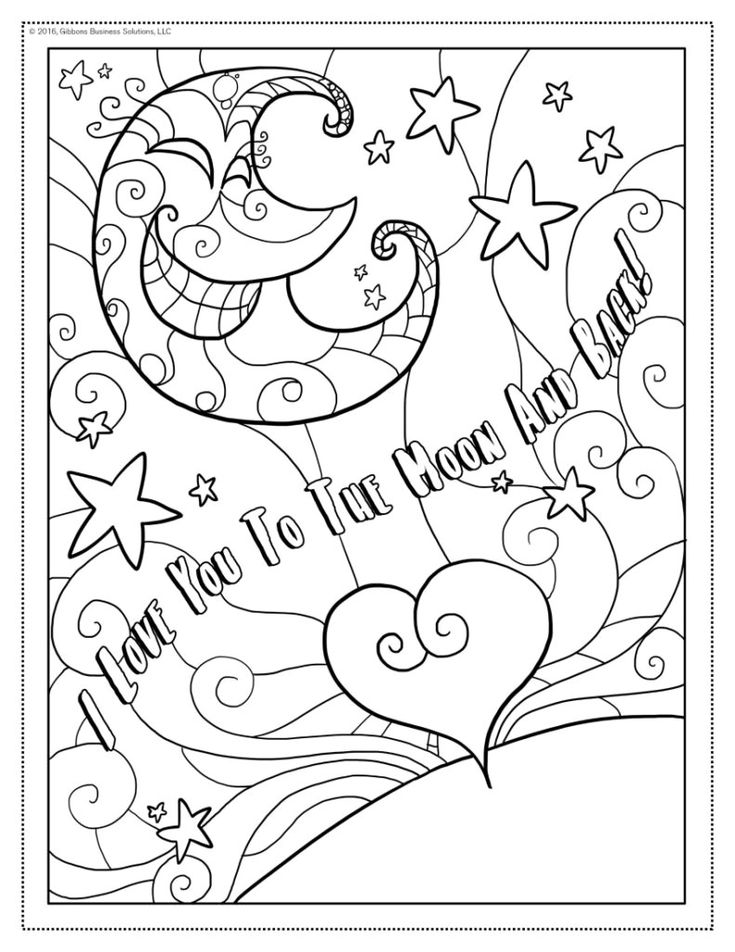 I Love You Coloring Page | Love coloring pages, Moon ...