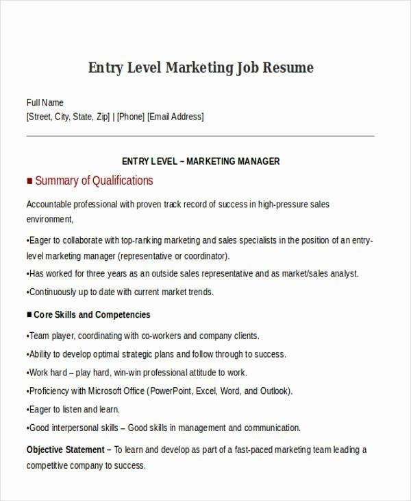 Entry Level Marketing Resume Best Of 30 Simple Marketing Resume Templates Pdf Doc Marketing Resume Resume Retail Resume Examples