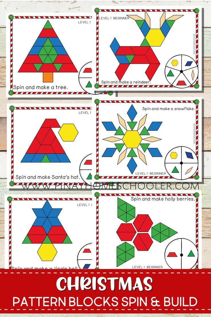Create Christmas symbols and icons with pattern blocks #pattern #preschool  #homeschool #stem #kinderg…   Christmas kindergarten [ 1104 x 736 Pixel ]