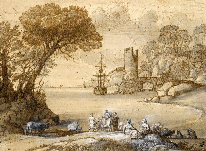 """Claude Gellée, dit """"Le Lorrain"""", L'Enlèvement d'Europe, vers 1647. Encre brune, lavis brun, lavis gris sur papier beige aves rehauts de blanc. Paris, musée du Louvre."""