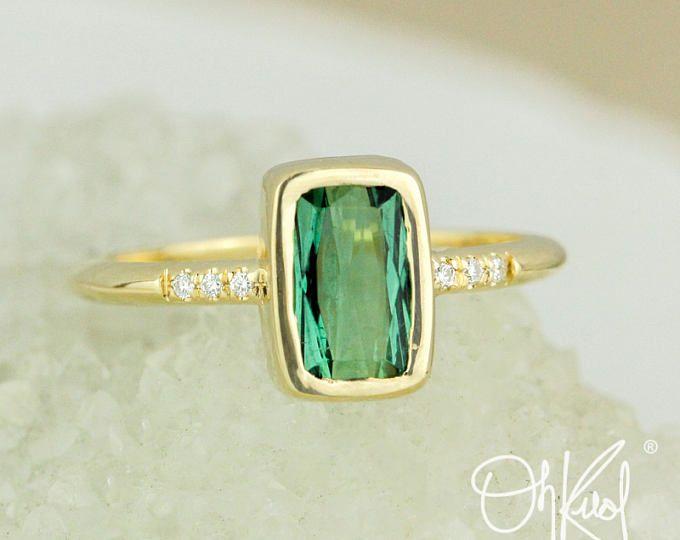 Emerald Green Tourmaline Ring - Emerald Cut Tourmaline - Bezel Set Ring