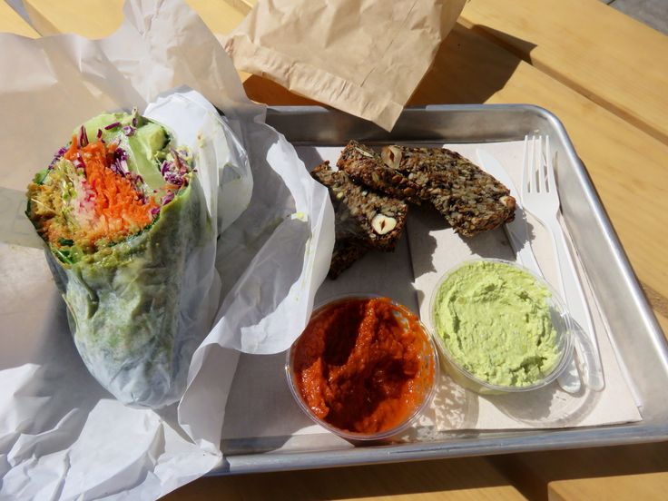 Quinoa  Falafel wrap and hummus with seed bread at Seed and Salt, San Francisco