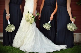 Baby's breath & rose bridesmaid bouquets. Navy bridesmaid dresses. Mori Lee 1862   After Six 6611