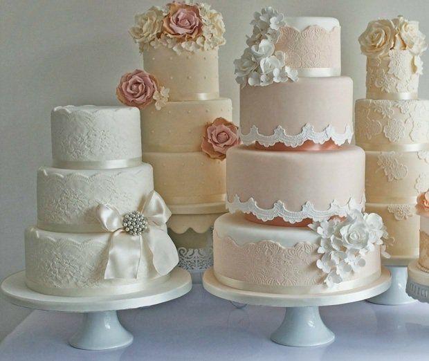 gâteaux de mariage américains vintage en couleurs pastel douces