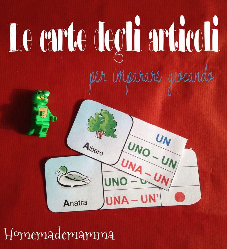 ILe carte degli articoli indeterminativi: un divertente gioco per imparare ed esercitarsi nell'uso degli articoli italiani. In pratica della carte con l'immagine ...