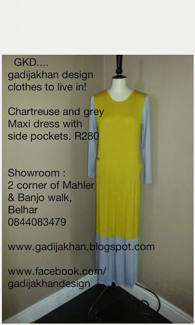 Chartreuse and grey colour block maxi dress from GKD. ..gadijakhan design