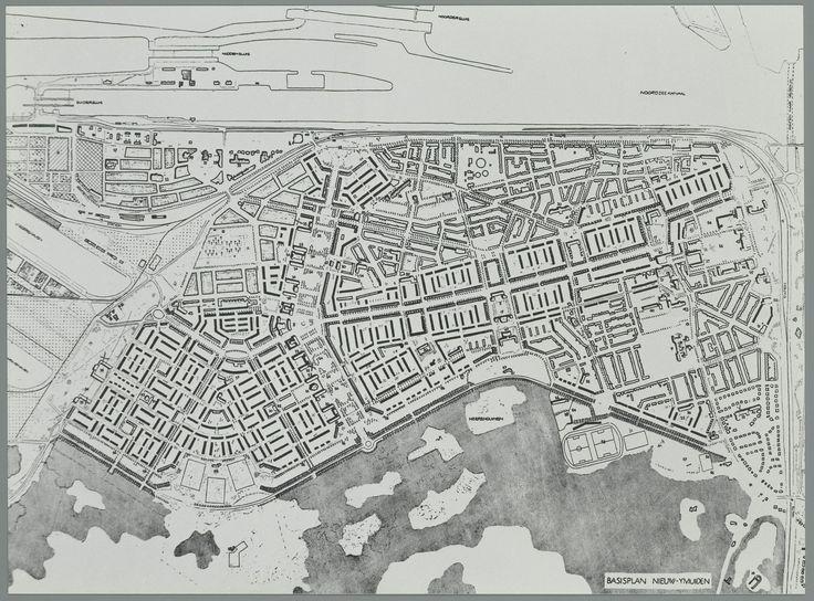 Dudok, deelplan Wederopbouw IJmuiden, begin jaren 40 met Atlanticwal