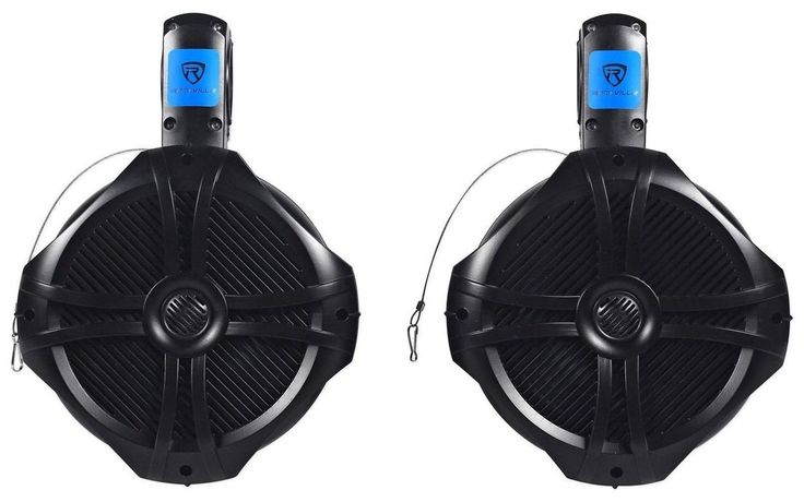 "Pair Rockville RWB80B 8"" Black 2 Way 300 Watt Marine Wakeboard Tower Speakers"