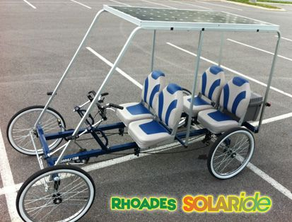 Music fest whip! Something like this but fat off road tires and more kushy. Also electric motor, cool lights for music festivals!Rhodes Car solar powered electric/bicycle car.