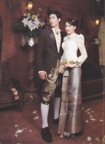 "Groom Suit in Thai traditional style.  Top : Black suit, White shirt with Gold tie. Bottom : Thai trouser ""Jong Kra Ben"""