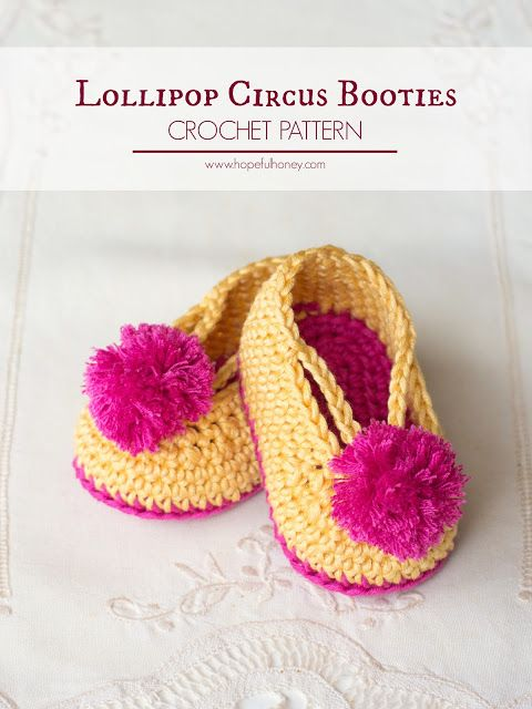 Lollipop Circus Baby Booties - Free Crochet Pattern, thanks so xox ☆ ★   https://uk.pinterest.com/peacefuldoves/