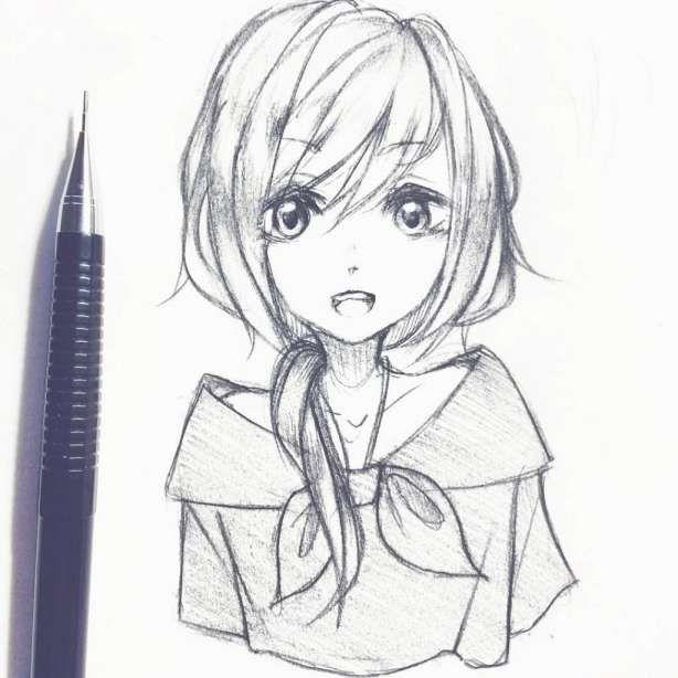 10 Cute Anime Drawings In Pencil In 2020 Cartoon Drawings Sketches Cartoon Drawings Anime Sketch