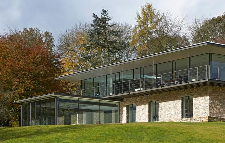Stone House, The Manser Practice #house #stone #steel #balcony #view #glazing #modern #wood #forest #crisp #elegant
