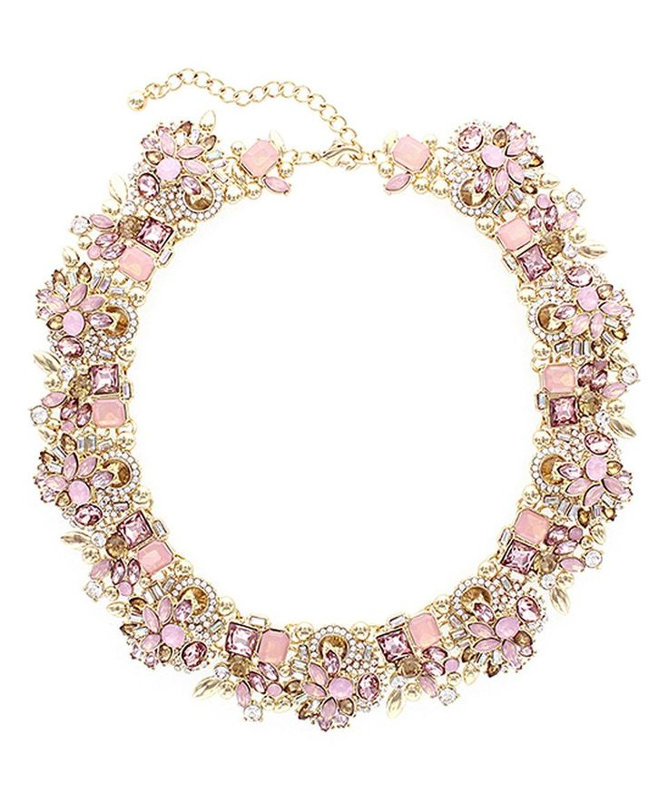 This Rose Crystal & Gold Verena Statement Necklace by Olivia Welles Jewelry is perfect! #zulilyfinds