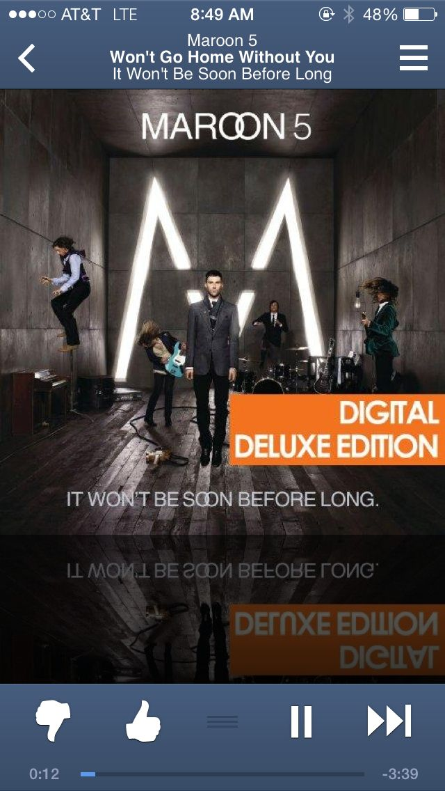 Won't Go Home Without You- Maroon 5one of my favorites by a young Adam Levine