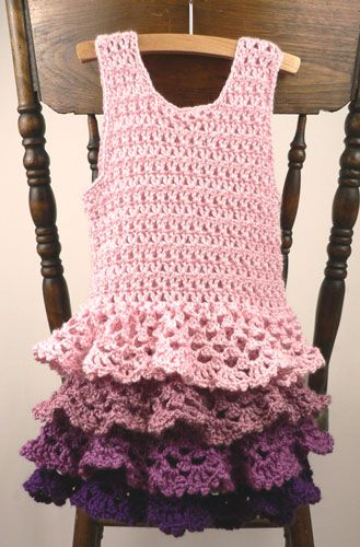 Caron ruffle dress sizes 3-4, 6, 8-10 im sure i can make this for me or my teen. By using a tank top as a pattern.