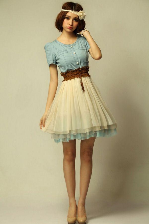 dress outfits | Dream feeling Vintage Dress - OASAP.com http://www.oasap.com/dresses/27681-vintage-denim-dress-with-contrast-mesh-skirt.html