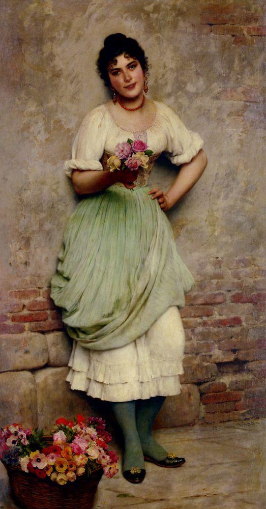 The Flower Seller,   Eugene de Blaas