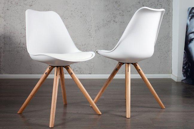 Retro Designklassiker Stuhl SCANIA MEISTERSTÜCK II weiß mit Stuhlbeinen aus Eiche